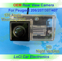 Free shipping! HD Rear View Peugeot 206, 207, 307, 407 CCD night vision car reverse camera auto license plate light camera