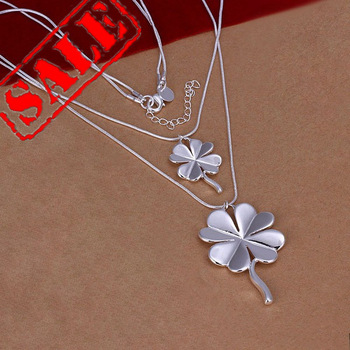 Hot and Clearance 925 Sterling Silver  Double Leaf Clover Pendant Necklace For Woman and Man 18 inch  Wholesale Price