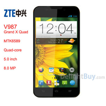 DHL Free ZTE V987 Grand X Quad Android 4.1 MT6589 Quad Core 1.2GHz Dual Sim 5.0 inch HD 1G RAM 8.0MP Rooted+google play.