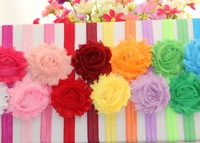 24pcs/lot Free Shipping Handmade Flower Children Headband 12 Colors Shabby Flowers Headband for Baby Hair Ornament Wholesale