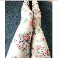 yiwu 2013 spring and autumn rose flower vintage plus size elastic leggings doodle ankle length trousers