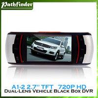 """A1-2 2.7"""" TFT Screen SQ 720P HD Dual-Lens Vehicle Black Box DVR with G-Sensor, GPS Tracking System (Black)"""