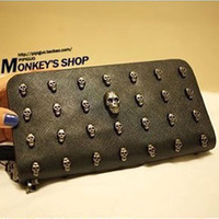 2013 Men's Women's PU Wallet , Ladies Purse ;Unsex , Long Design , 5color Vintage Punk Skull 6pc/Lot Best for Party or Days Uses