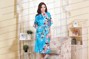 Free Shipping 2013 hot sales woman  High quality chinese silk  kimono peacock robes S M L XL XXL XXXL MOQ 1pc