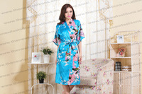 Free Shipping 2013 hot sales woman  High quality chinese silk  kimono peacock robes S M L XL XXL XXXL MOQ 1pc
