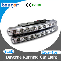 New Arrivals  Super White 8LEDs Universal Car Light LED Daytime Running 2pcs/1pair Head DRL Light Free shipping