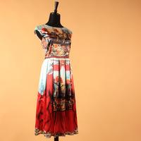 Spring Summer Autumn High Classic Women Fashion Luxury Star Floral Print Dresses