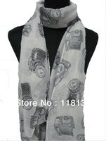 Fashion Ladies Vintage Retro Camera Design Print Scarf Shawl Wrap 180*110cm , Free Shipping