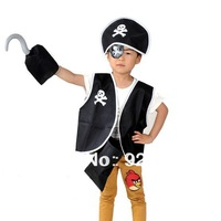 hot sale ! Performance wear costume clothes pirate child pirate set Clothing children male pirate captain jack 5 pieces set