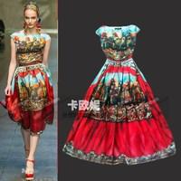 2014 Brand designer dress High quality women digital print elegant airy vintage print runway silk dress women a line dress XXXL