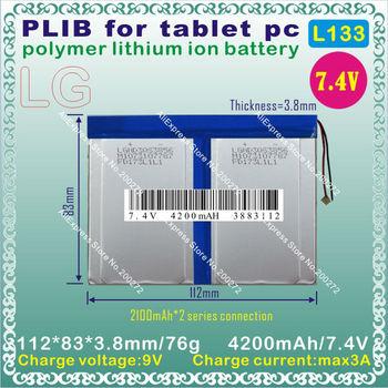 [L133] 7.4V,4200mAH,[3883112]  PLIB (polymer lithium ion battery / LG CELL ) Li-ion battery  for tablet pc,GPS,e-book