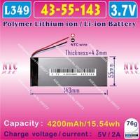 [L349] 3.7V,4200mAH,[4355143] PLIB (polymer lithium ion battery) Li-ion battery for tablet pc,power bank,ONDA V711,V701,V702