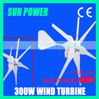 Free shipping 2013 Hot selling Max power 450w small wind turbine generator AC12V/AC24V with 6blades ,big tail ,high efficiency