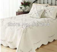 beige embroidery quilts full king large plus Size305*300cm cotton clouds flower bedspread water wash cotton quilting bed cover
