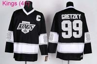 Hot Los Angeles Kings #99# Wayne Gretzky Black Throwback Ice Hockey Jersey Embroidery logos Cheap LA Hockey jersey Free Shipping