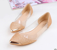 Cheapest 2014 New Chic Metal Pointed/Closed Toe Transparent Shiny Pointed Ballet Flat Shoes,Women's Ladies Shoes 10213 X374