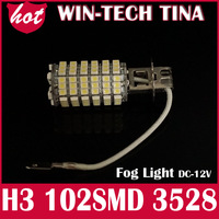 2 PCS/LOT 102-SMD3528 H3 LED Bulbs Driving Fog Lights High Beam White 12Volt led h3 102smd 1210 fog light