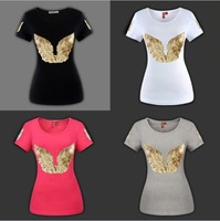 AMY] free shipping 2013 hot sale!!! Angel wings sequined women cotton t shirt  new design short sleeve tees 4 colors size S-5XL