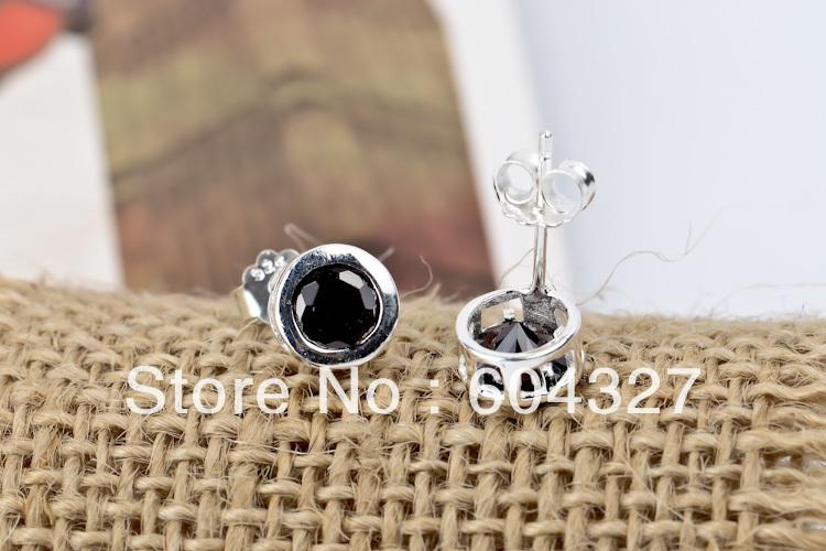 Бесплатная доставка 1 пара 925 серебро серьги gne0250, Высокое качество микро-проложить 925 серебряных ювелирных изделий