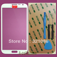 10pcs/lot White/black top Glass FOR Samsung Galaxy Note 2 N7100 i317 T889 N7105 N7102 Lcd screen (no digitizer touch) +sticker