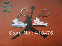 Free Shipping (10pcs/lot, 2 colors) 2013 Hot Sell AJ II Basketball shoes Keychain