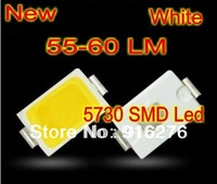 New 55-60LM 5730 SMD 0.5W White LED  Lighting light beads with high stable 3.2-3.5V,6000-6500k M  Free Shipping