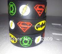 "2013.2014 Superhero  band  Superman, Batman, Green Lantern, The flash wristband, silicone bracelet 1"" Wide band free shipping"