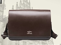 Free shipping Fashion Kangaroo Mens Leather Shoulder Messenger Bag Breifcase