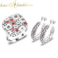 2014 New Brand BWG Fashion Wedding Jewelry Set Ring Earring Red Crystal 925 Sterling Silver Plated Jewelry Set For Women S22