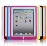 Free shipping Fashion Solid Silicon Cover Case For iPad 4 3 2 (Assorted Colors)