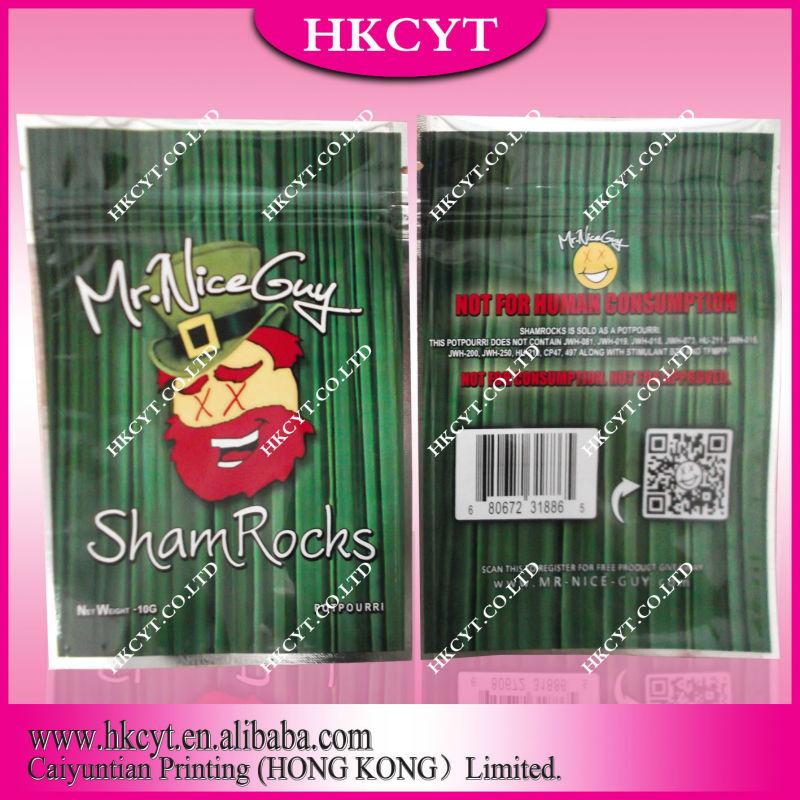 Mr nice guy 5g sham rocks plastic mylar packaging bag for herbal potpourri with zipper / aluminum foil ziplock bag(Hong Kong)
