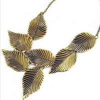 2014 New! Retro Metal Leaves Leaf Wild Punk Style Collar Necklace Brand Designer Jewelry For Women Wholesale K43