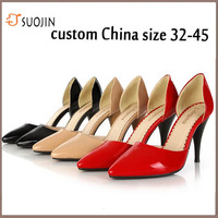 2013 women's shoes size 32 - 45 genuine full grain leather pointed toe high-heeled single nude pumps