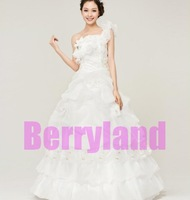2013 Newest Women #2062 Princess Elegant One Shoulder Beaded Flouncing Embroidery Floor Length Wedding Long Dresses
