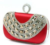 Hot Style 2014 New Fashion Luxury Diamond Dinner Clutch Bag, High-grade Acrylic Silk Handbag, Leisure Party Bag 9 Color NO12026
