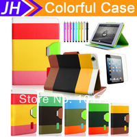 Hybrid PU Leather Wallet Flip Pouch Stand Case Cover For Apple iPad Mini+Stylus 5 Colors