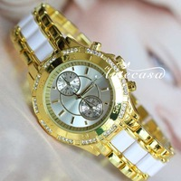 New Fashion Branded Rhinestone Decorated, Steel Band Swiss Dress Wrist Bracelet Bangle Women&Lady's Watch with Logo