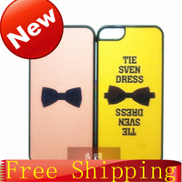 2014 New For Couple's Case Colored Paniting Cute Bow-Tie Pattern Plastic Hard Case For iPhone 5 5s Case Free Shipping