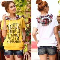 2014 plus size clothing summer clothes female letter plaid hooded t-shirt large size women shirt