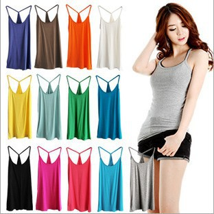 Cotton slim Y style spaghetti strap basice shirt10 color for choose women's vest /cotton top tank free shipping
