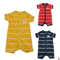 2013 new open in the front buckle striped baby boys Romper jumpsuit climbing clothes 4pcs/lot 3M 6M 9M 12M