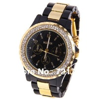 2013 New Miler Brand Fashion Rhinestone Quartz Watch Diamond Inlay Dress Watch Plastic and Steel Women Watches Free Shipping