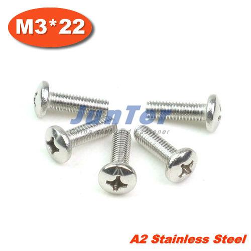 100pcs/lot din7985 m3 * 22mm parafuso de aço inoxidável a2 pan cabeça ph