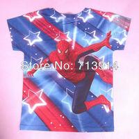 Hot sale   spider man cartoon t shirts for girls kids spiderman t-shirt boys super man clothing Children tshirt wholesaleK2007