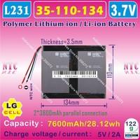 [L231] 3.7V,7600mAH,[35110134] PLIB (polymer lithium ion battery / LG cell) Li-ion battery for tablet pc,mp4,cell phone,speaker