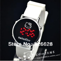 Free shipping christmas sale Wholesale Hello Kitty Led Watch children men women Silicone Digital Watch