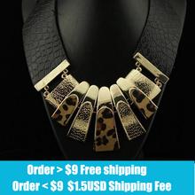 2014 Europen Brand Design Fashion Popular Elegant Punk Tassel Leopard Leather Choker Necklace Statement Jewelry High
