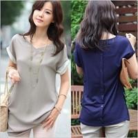 spring 2014 women big size loose clothing summer viscose cotton blusas ladies Blouses shirt camisa social feminina work wear