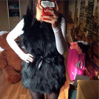 New Real Fur Vest Women Genuine Raccoon Fur Long Gilet Waistcoat 0-Neck with Belt Fur Coat Jacket Wholesale Price Free Shipping