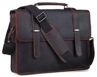 "Simple Genuine Leather 14"" Laptop Briefcase Mens Messenger Shoulder Computer Bag Notebook Bag Vintage Style Free Shipping 1081"